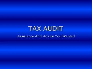 Tax Audit Assistance And Advice You Wanted