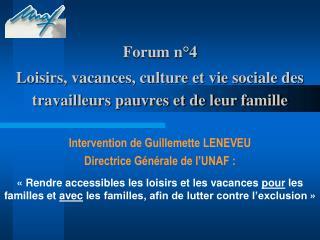 Forum n 4   Loisirs, vacances, culture et vie sociale des travailleurs pauvres et de leur famille