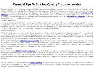 Essential Tips To Buy Top Quality Costume Jewelry
