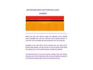 WE PROVIDE BEST SATTA MATKA LUCKY NUMBER