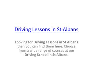 Automatic driving lessons St Albans | Driving school St Alba