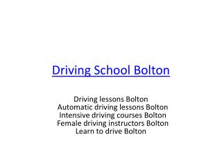 Female driving instructors Bolton | Automatic driving lesson