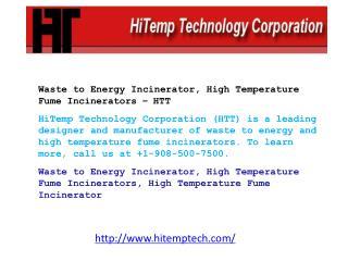 Waste to Energy Incinerator, High Temperature Fume Incinerat