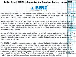 Tooling Expert BENZ Inc. Presenting New Broaching