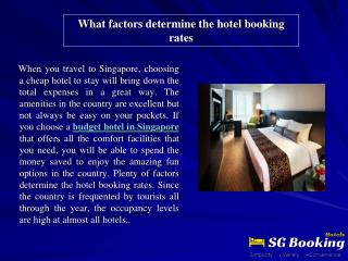 What factors determine the hotel booking rates