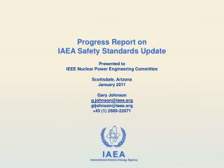 Progress Report on  IAEA Safety Standards Update