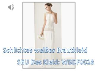 Schlichtes weißes langes Rund-Ausschnitt Brautkleider Online