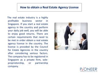 How to obtain a Real Estate Agency License