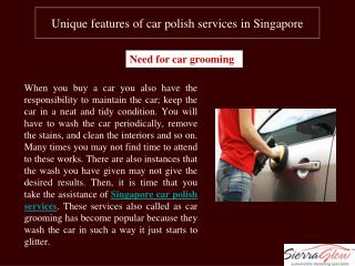Unique features of car polish services in Singapore