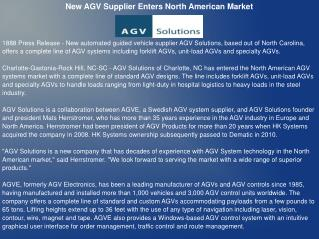 New AGV Supplier Enters North American Market