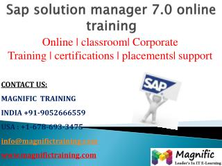 sap solution manager 7.0 online training in canada