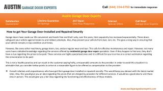 How to get Your Garage Door Installed and Repaired Smartly