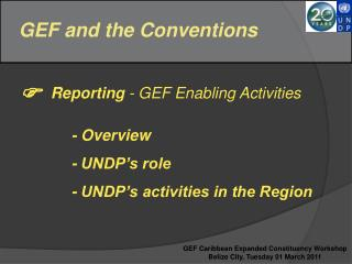 GEF and the Conventions     Reporting - GEF Enabling Activities       - Overview      - UNDP s role      - UNDP s activi