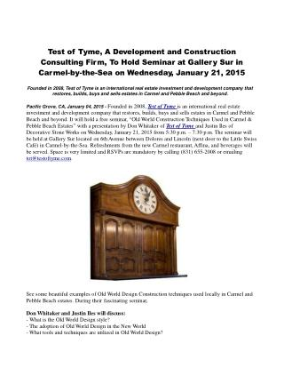 Test of Tyme, A Development and Construction Consulting Firm
