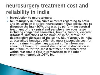 neurosurgery treatment cost and reliability in india