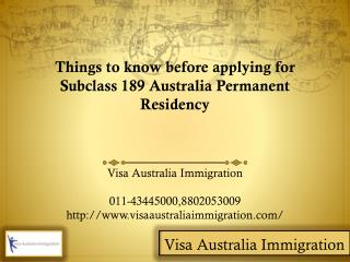 Applying for subclass 189 australia permanent residency