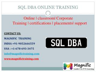 SQL DBA ONLINE TRAINING IN SOUTHAFRICA