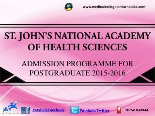 St. Johns  PG Medical Entrance Exam 2015|St. John's Medical