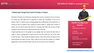 Finding Expert Garage Door Service Providers in Dayton