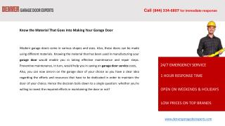 Know the Material That Goes Into Making Your Garage Door