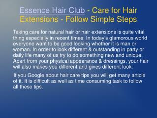 Care for Hair Extensions - Essence Hair Club