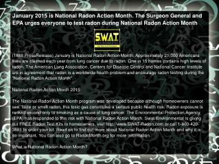 January 2015 is National Radon Action Month.