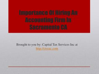 Importance Of Hiring An Accounting Firm In Sacramento CA