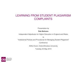 LEARNING FROM STUDENT PLAGIARISM COMPLAINTS