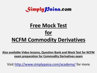 NCFM Commodity derivatives Mock Test
