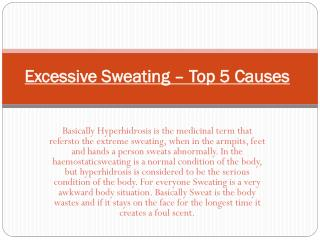 Excessive Sweating – Top 5 Causes