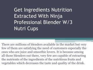 Get Ingredients Nutrition Extracted With Ninja Professional