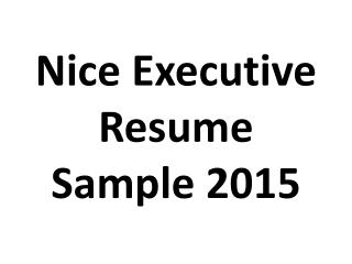 Nice Executive Resume Sample 2015