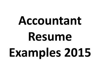 Accountant Resume Examples 2015