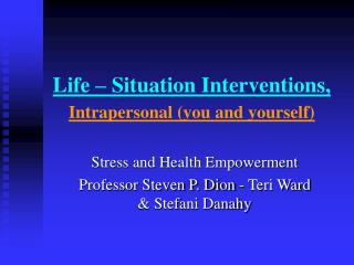 Life Situations - Interventions SSC Students