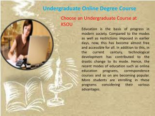 Undergraduate Online Degree Course