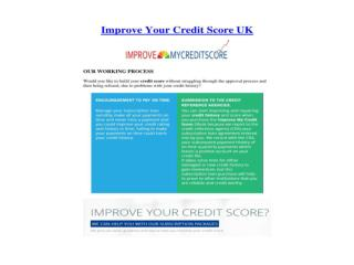 Improve Your Credit Score UK