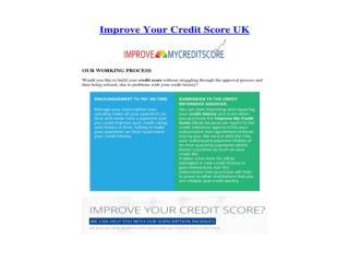 Improve Your Credit Score UK