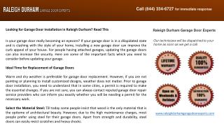 Looking for Garage Door Installation in Raleigh Durham? Read