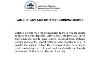 Value of ISBM MBA Distance Learning Courses