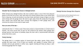 Valuable Tips For Garage Door Owners In Raleigh Durham