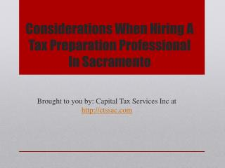 Considerations When Hiring A Tax Preparation Professional In