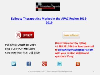 Epilepsy Therapeutics Market 2019 in APAC Region