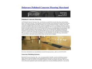 Delaware Polished Concrete Flooring Maryland