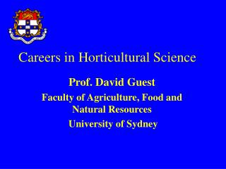 Careers in Horticultural Science