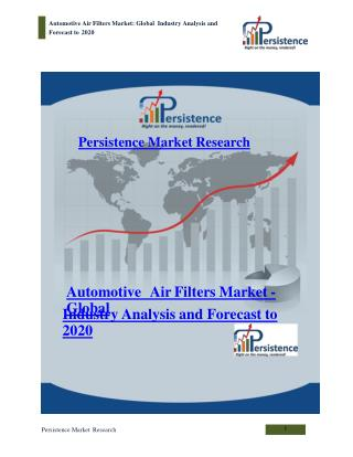 Global Automotive Air Filters Market Analysis and Forecast t