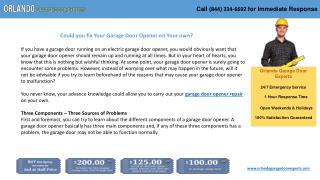 Could you fix Your Garage Door Opener on Your own?