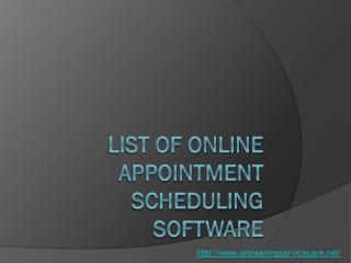List of Online Appointment Scheduling Software
