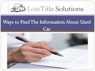 Ways to Find The Information About Used Car