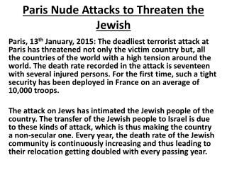 Kislay Pandey-Paris Nude Attacks to Threaten the Jewish