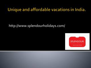 Unique and affordable vacations in India